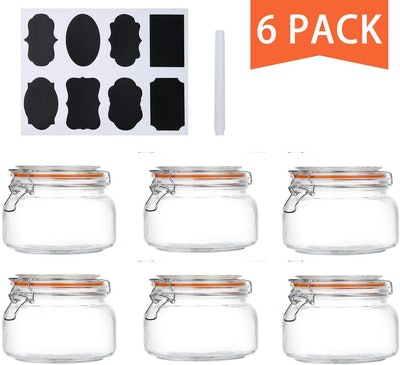 Encheng Wide Mouth Glass Jars With Hinged Lids (6-Pack)