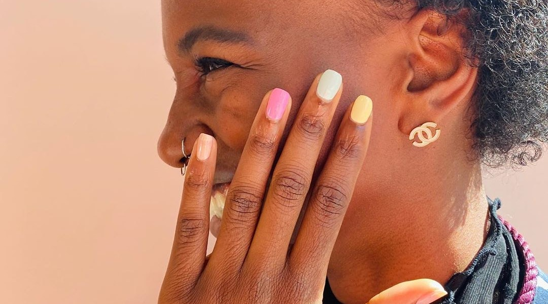Spring 2020 nail polish colors include lavender, melon, and gold.