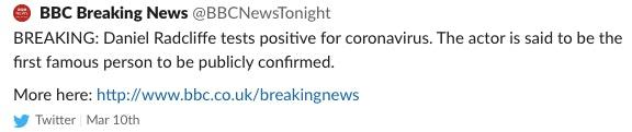 Daniel Radcliffe Coronavirus tweet