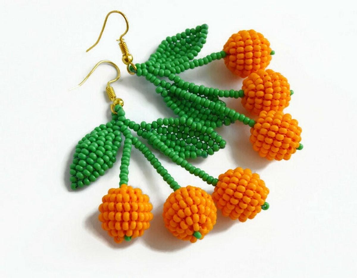 KeychainbyMirami8888 Triple Tangerines Orange Earrings