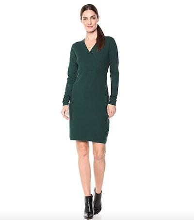 Lark & Ro Long Sleeve Faux Wrap Sheath Sweater Dress
