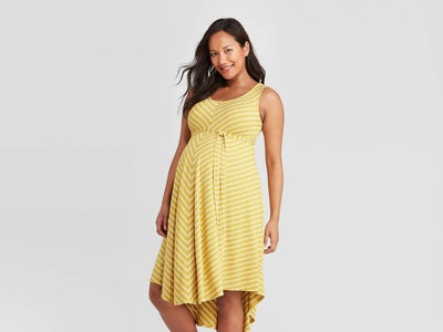 Pregnant model wearing a spring maternity dress from Target