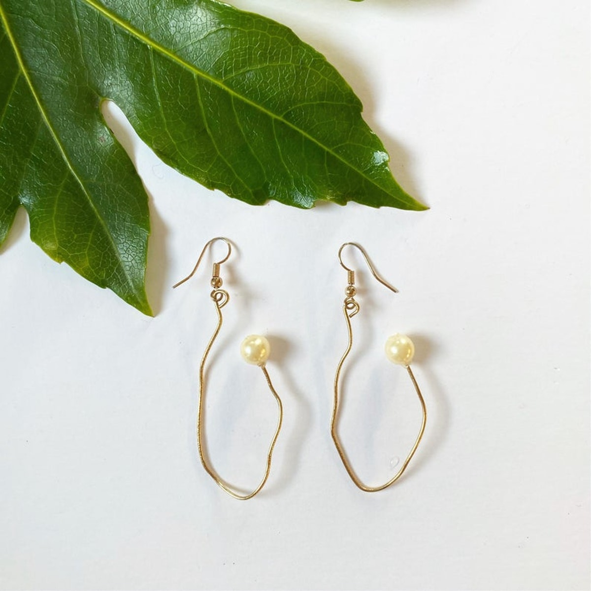 TheHumbleThrift Recycled Gold Plated Abstract Pearl Earrings