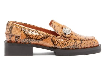 Crystal-button python-effect leather loafers
