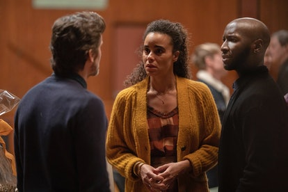 Matt Bomer as Jamie Burnes, Parisa Fitz-Henley as Leela Burns, and Phillip James Brannon as Brian Russo in The Sinner
