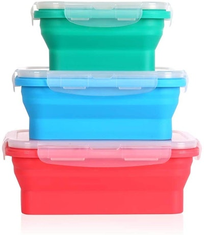Deke Home Collapsible Silicone Food Storage Containers (3-Pack)