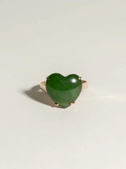 Vintage Jade Heart Ring