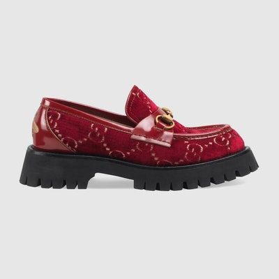 Red GG velvet lug sole loafer