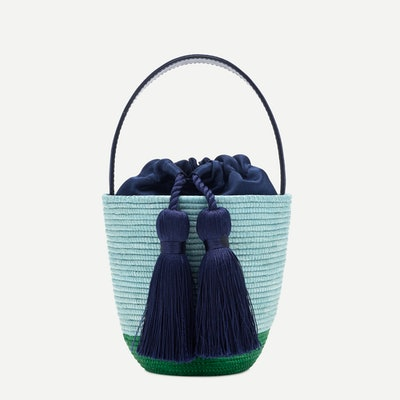 Party pail bucket bag - Navy/Pale Mint/Kelly Green