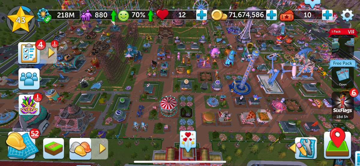RollerCoaster Tycoon® Touch™ allows players to build their own amusement park, collect coins, and mo...