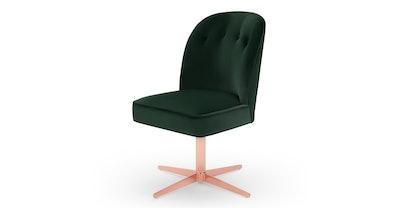 Margot Office Chair, Pine Green Velvet and Copper