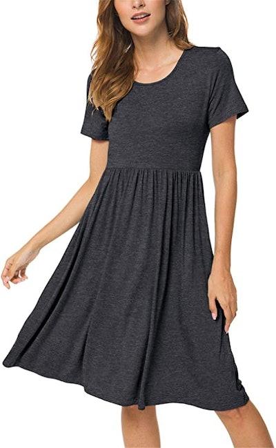 DB MOON Short Sleeve Empire Waist Dress with Pockets