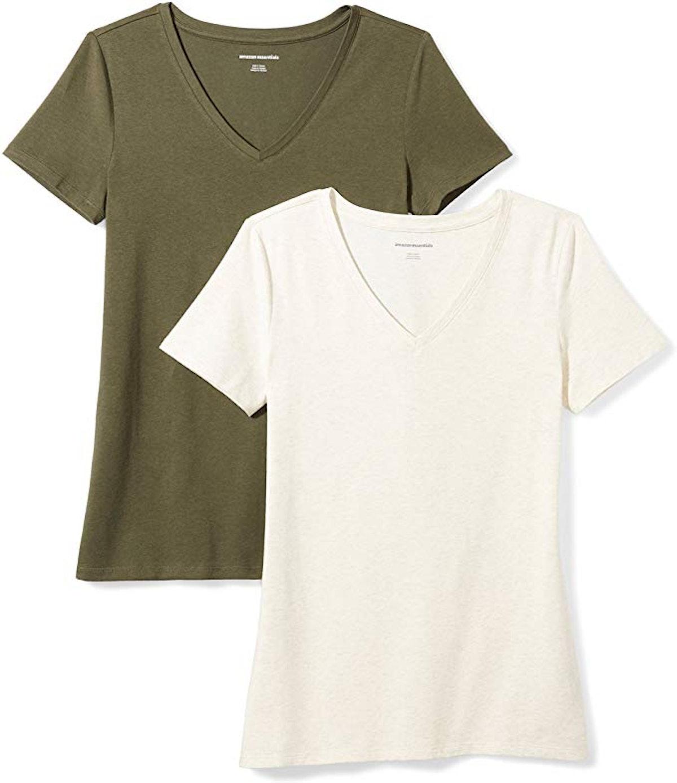 Amazon Essentials Women's V-Neck T-Shirt (2-Pack)