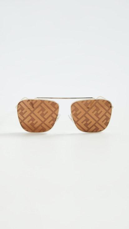 Peach Logo Square Aviator Sunglasses