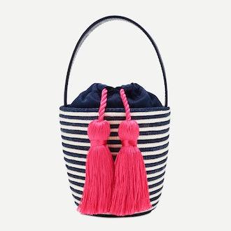 Party pail bucket bag, Navy/Fuschia