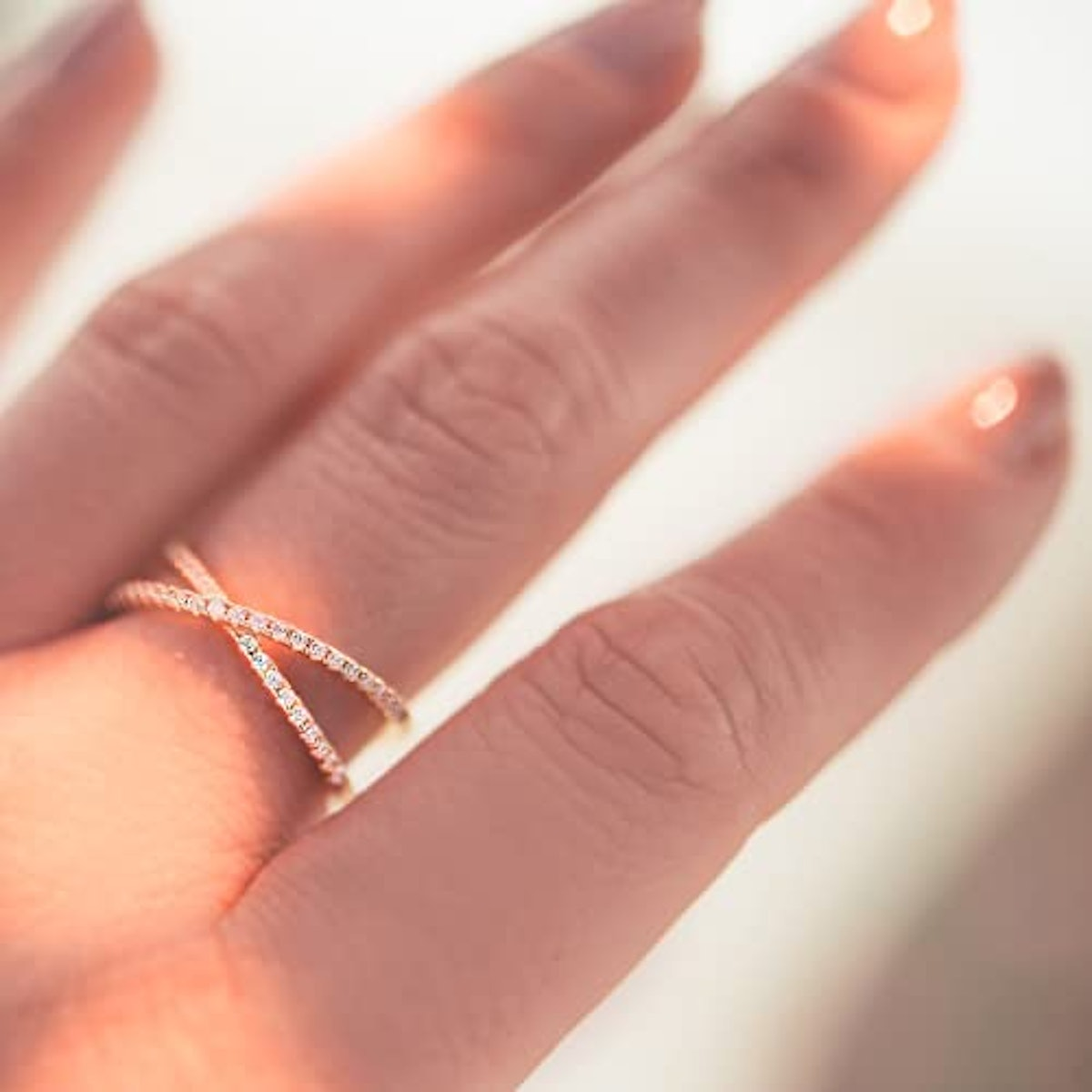 PAVOI Gold Plated Criss Cross Ring