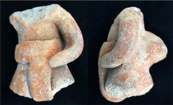 Ballplayer figurine discovered in Oaxaca, Mexico.