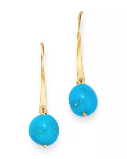 Turquoise Drop Earrings in 14K Yellow Gold