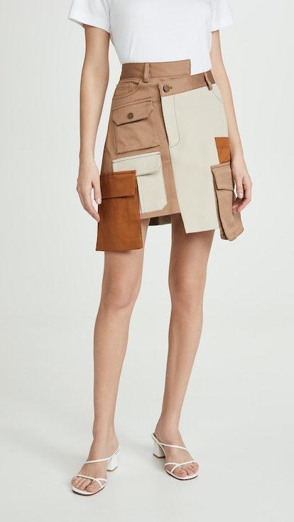 Multi Color Patch Pocket Miniskirt