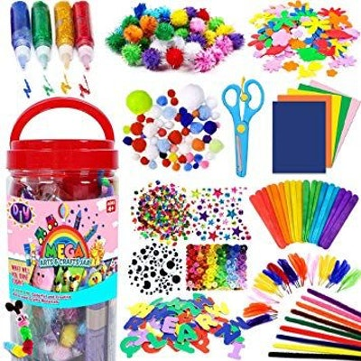 FunzBo Arts and Crafts Supplies Jar for Kids