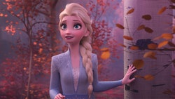 Elsa in a scene from Frozen 2, available on Disney+ starting three months early, on March 15
