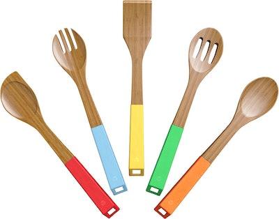 Vremi 5-Piece Bamboo Kitchen Utensil Set
