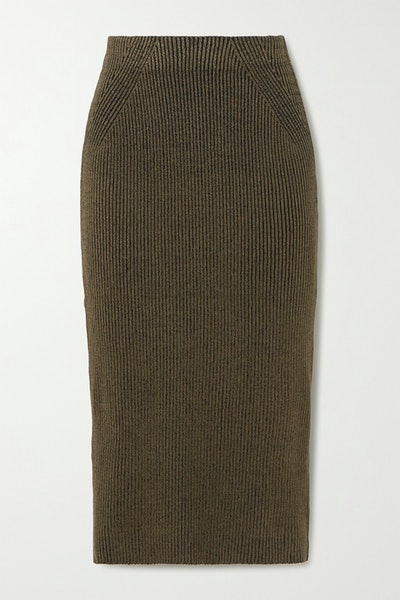 Susan Ribbed Stretch-Modal Midi Skirt