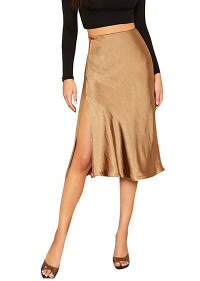 SheIn Satin Split Side Midi Skirt