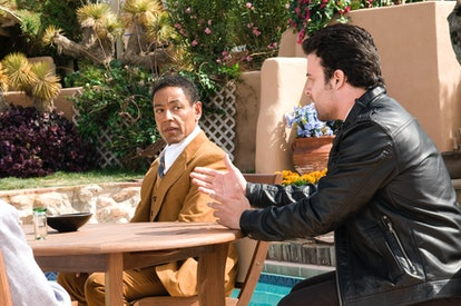 """Giancarlo Esposito as Gustavo """"Gus"""" Fring and James Martinez as Max in Breaking Bad"""