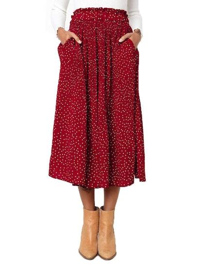 Exlura High Waist Polka Dot Swing Skirt