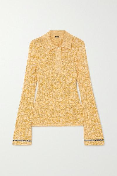 Mélange Ribbed-Knit Polo Shirt