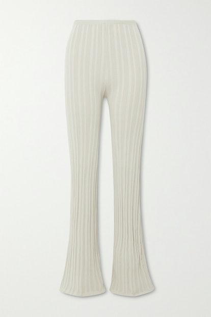Daisy Ribbed-Knit Flared Pants
