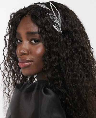 Hair Crown with Leaf Embellishment in Silver Tone