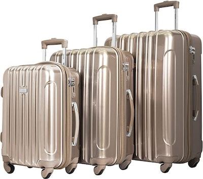 kensie Alma Metallic Three-Piece Luggage Set (22-, 26-, And 30-Inches)