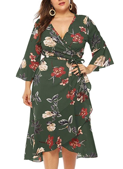 PARTY LADY Plus Size Midi Floral Dress