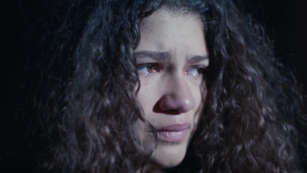 "Zendaya Coleman, Rue, from ""Euphoria"" cries in the wake of Season 2 delay due to coronavirus."