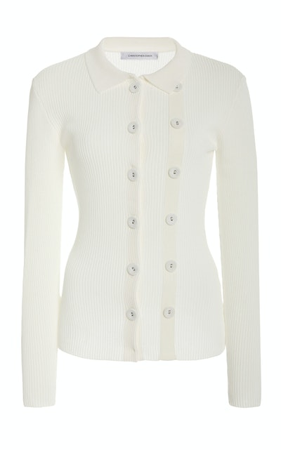 Buttoned-Detailed Ribbed-Knit Cardigan