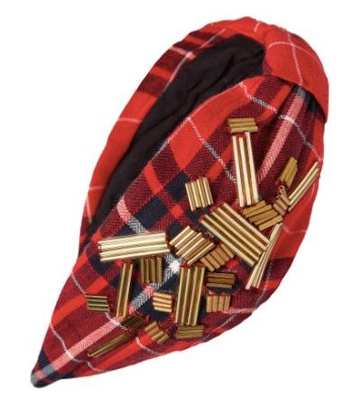Beaded Red Plaid Headband