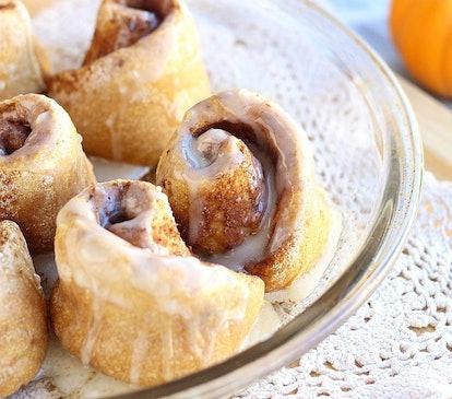 Pumpkin spice cinnamon rolls are a new twist on a seasonal classic.