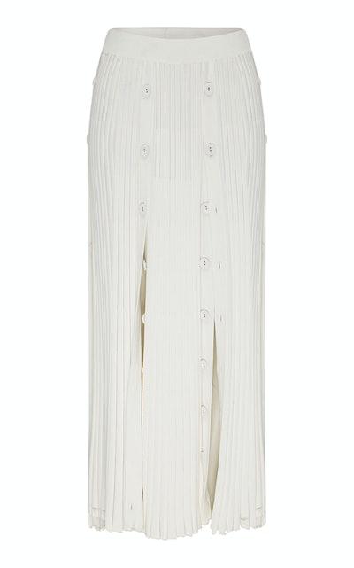 Pleated Stretch-Knit Midi Skirt