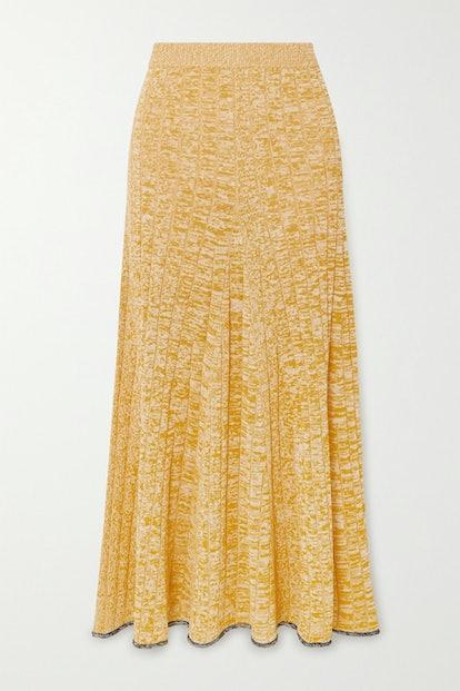 Sally Mélange Ribbed-Knit Midi Skirt