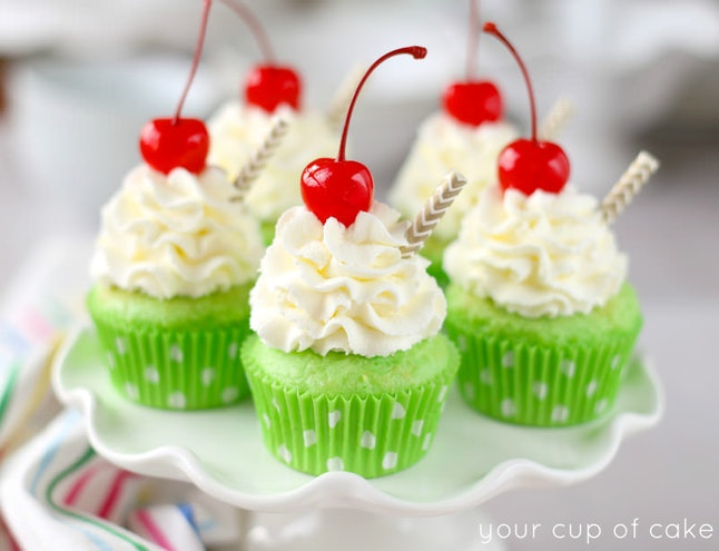 Shamrock Shake Cupcakes turn your favorite St. Patrick's Day drink into a cupcake.