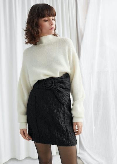 Flared Belt Jacquard Mini Skirt