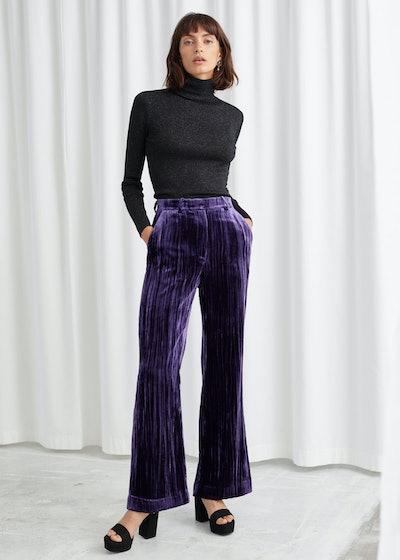 Crushed Velvet Kick Flare Trousers