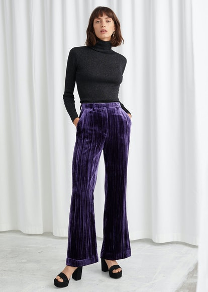 Crushed Velvet Kick Flare Trousers