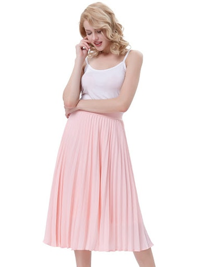 Kate Kasin Pleated A-Line Skirt