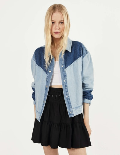 Cropped contrasting denim jacket