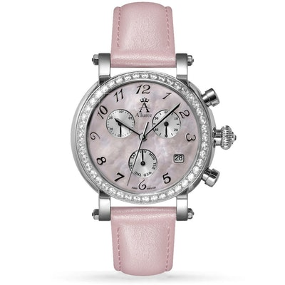 Pink Mother Of Pearl Chronograph Leather Watch