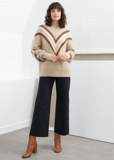 Mock Neck Varsity Stripe Sweater