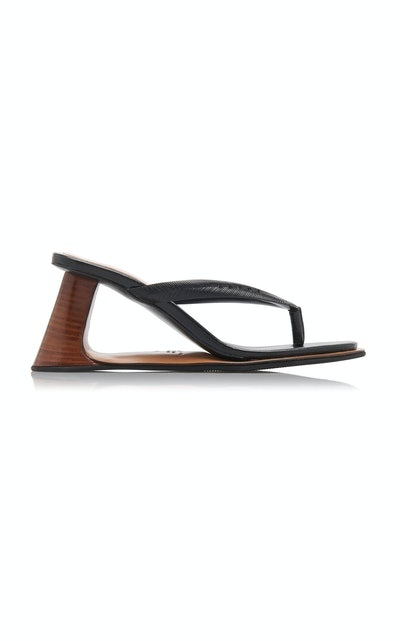 Reverse Leather Thong Sandals